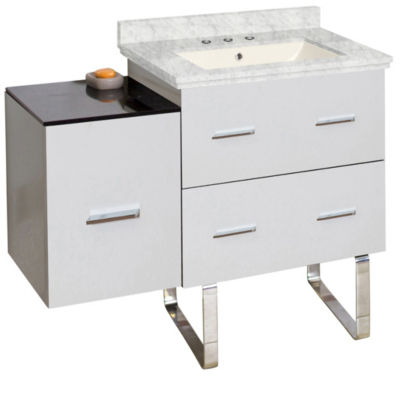 37.75-in. W Floor Mount White Vanity Set For 3H8-in. Drilling Bianca Carara Top Biscuit UM Sink