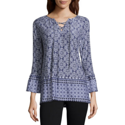 Liz Claiborne 3/4 Sleeve Ruffled Sleeve Geometric Peasant Top