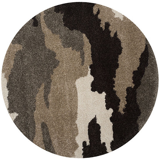 Safavieh Shag Collection Aleah Camouflage Round Area Rug