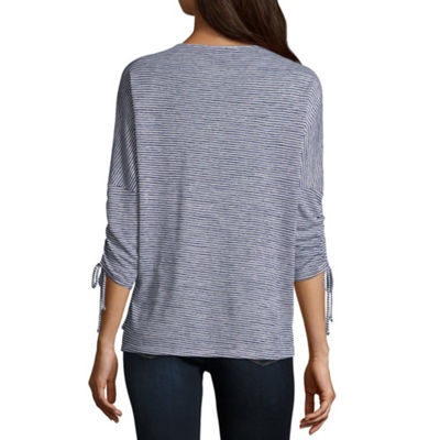by&by 3/4 Sleeve Round Neck Knit Blouse-Juniors