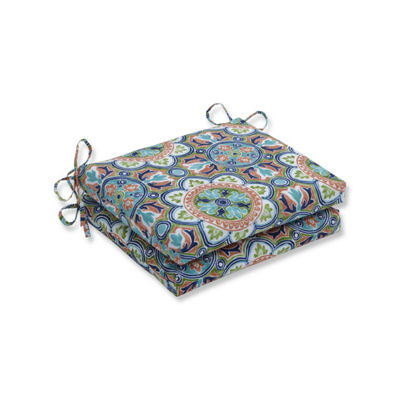 Pillow Perfect Set of 2 Lagoa Tile Flamingo Squared Corners Patio Seat Cushion