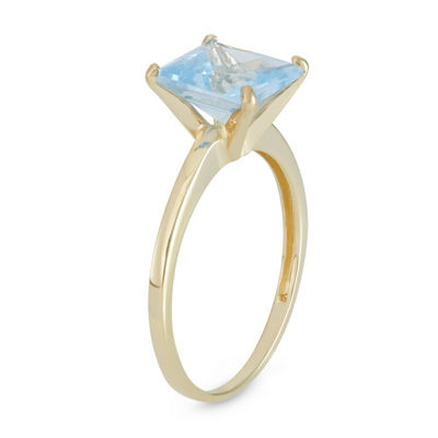 Womens Blue Aquamarine 10K Gold Solitaire Ring