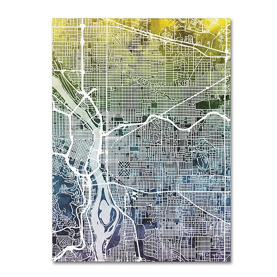 Trademark Fine Art Michael Tompsett Portland Oregon Street Map V Giclee Canvas Art