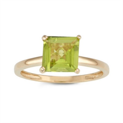 Womens Green Peridot 10K Gold Solitaire Cocktail Ring