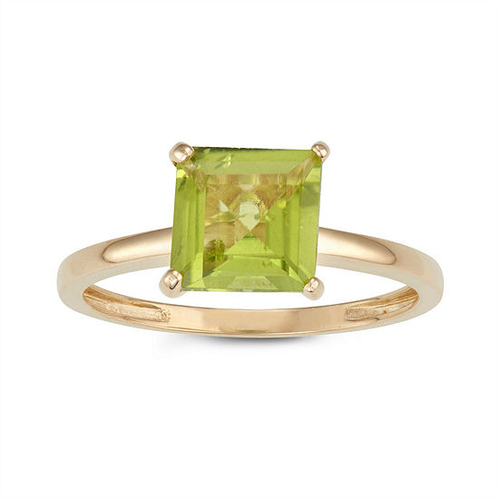 Womens Genuine Green Peridot 10K Gold Solitaire Cocktail Ring