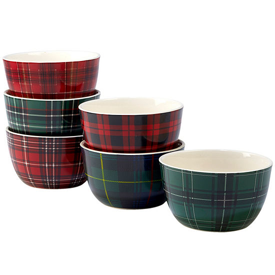 Certified International Christmas Plaid 6-pc. Ice Cream Bowl