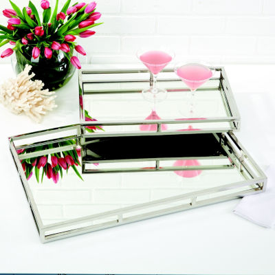 Two's Company Set Of 2 Rectangle Mirrored GalleryTrays