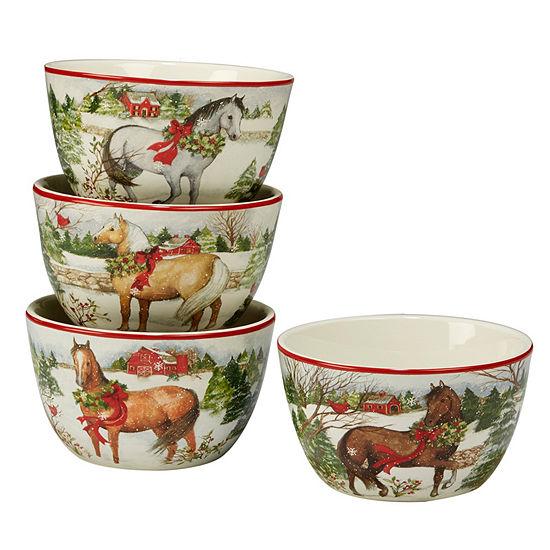 Certified International Christmas On The Farm 4-pc. Ice Cream Bowl