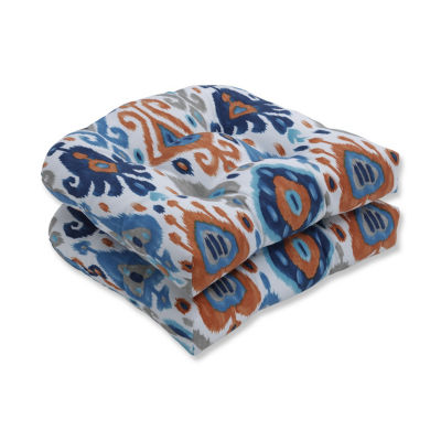 Pillow Perfect Set of 2 Paso Azure Wicker Patio Seat Cushion