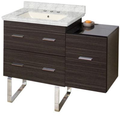 37.75-in. W Floor Mount Dawn Grey Vanity Set For 3H8-in. Drilling Bianca Carara Top Biscuit UM Sink