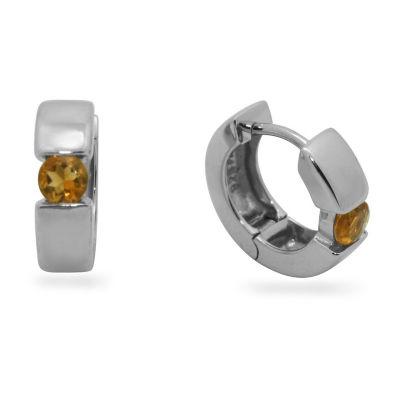 Genuine Orange Citrine Sterling Silver 13.7mm Round Hoop Earrings