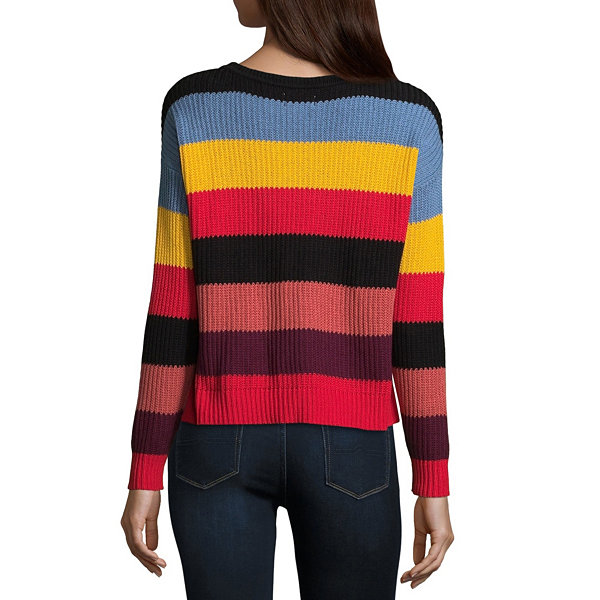 Arizona Long Sleeve Scoop Neck Stripe Pullover Sweater-Juniors
