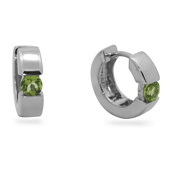 Genuine Green Peridot Sterling Silver 13.7mm Round Hoop Earrings