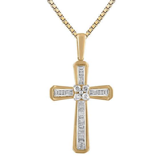 Womens 1/5 CT. T.W. Genuine White Diamond 10K Gold Cross Pendant Necklace