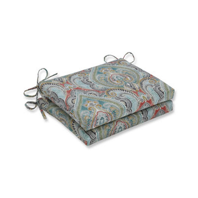 Pillow Perfect Set of 2 Pretty Witty Reef Squared Corners Patio Seat Cushion