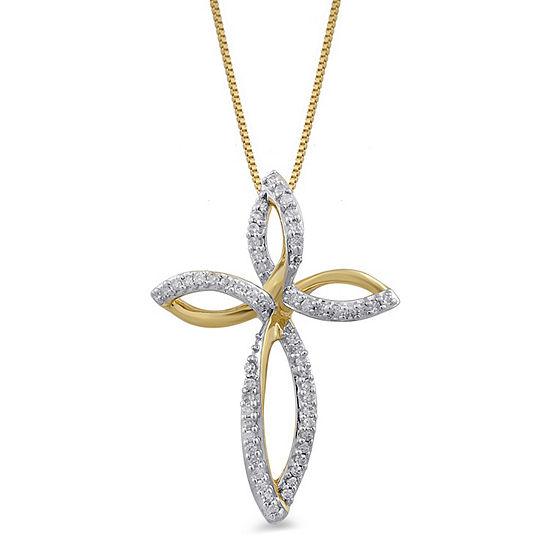 Womens 1/10 CT. T.W. Genuine White Diamond 10K Gold Cross Pendant Necklace