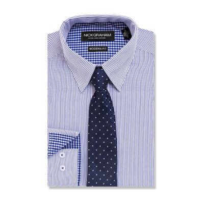 Nick GrahamModern Fit Dress Shirt and Tie Set