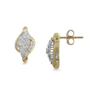 1/2 CT. T.W. Genuine White Diamond 10K Gold 14mm Stud Earrings