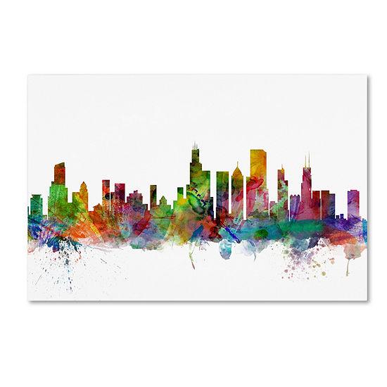 Trademark Fine Art Michael Tompsett Chicago Illinois Skyline Giclee Canvas Art