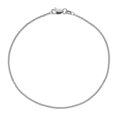 14K White Gold 10 Inch Solid Cable Chain Bracelet
