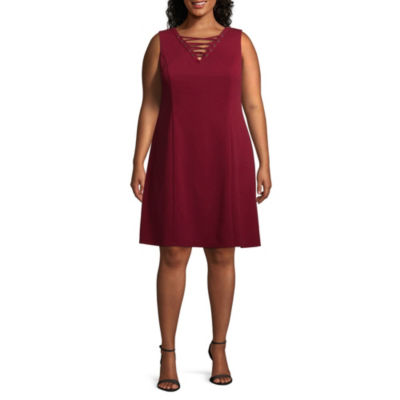 Alyx Lace-Up Front Fit & Flare Dress - Plus