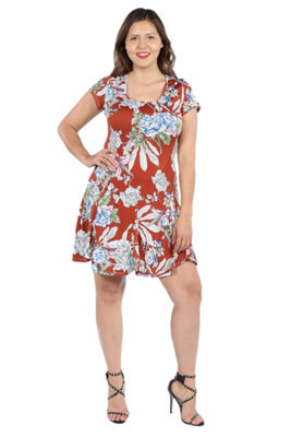 24Seven Comfort Apparel Lani Red Short Sleeve Dress - Plus