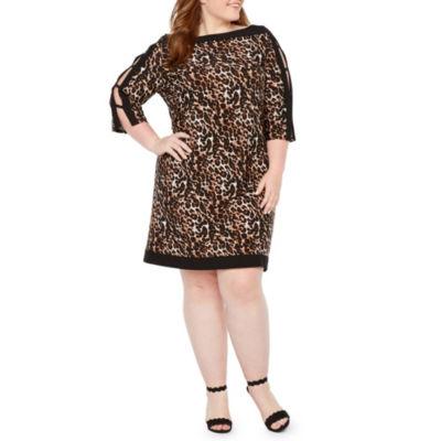 Studio 1 3/4 Sleeve Animal Print Shift Dress - Plus