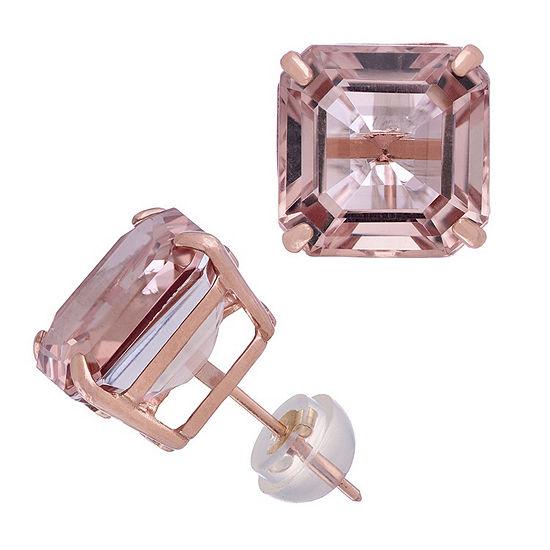 Simulated Pink Morganite 14K Rose Gold 10.1mm Square Stud Earrings