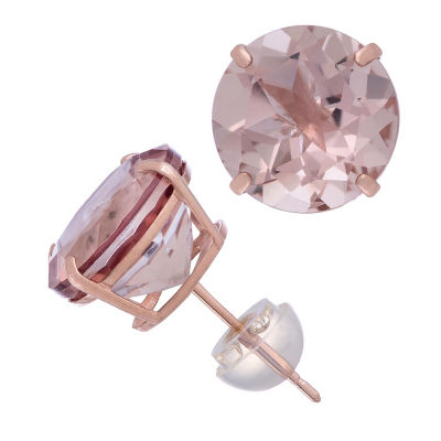 Simulated Pink Morganite 14K Rose Gold 10.1mm Round Stud Earrings