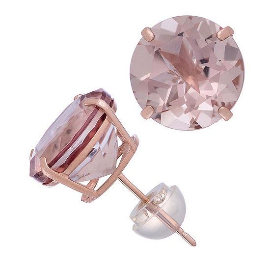 Simulated Pink Morganite 14K Rose Gold 10.1mm Round Stud Earrings
