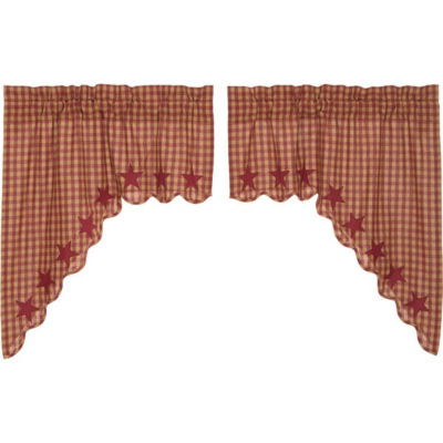 Primitive Window Burgundy Star Scalloped Swag Pair
