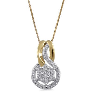 Diamond Blossom Womens 1/4 CT. T.W. Genuine White Diamond Pendant Necklace