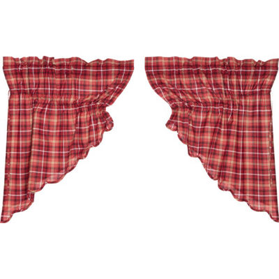 Rustic & Lodge Window Braxton Scalloped Prairie Swag Pair