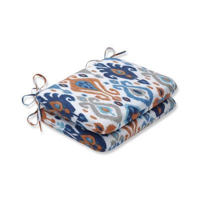 Pillow Perfect Set of 2 Paso Azure Rounded CornersPatio Seat Cushion