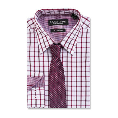 Graham And Co Long Sleeve Woven Windowpane Dress Shirt - Fitted