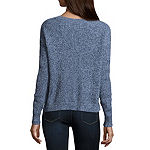 Arizona Long Sleeve Scoop Neck Pullover Sweater-Juniors