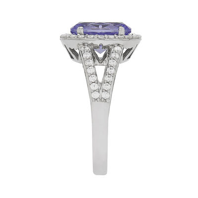 Womens Simulated Purple Tanzanite Sterling Silver Cocktail Ring