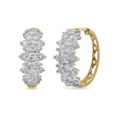 2 CT. T.W. Genuine White Diamond 10K Gold 16mm Hoop Earrings