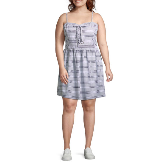 Arizona Sleeveless Stripe A-Line Dress-Juniors Plus