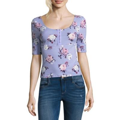 Arizona Elbow Sleeve Henley Neck T-Shirt-Womens Juniors