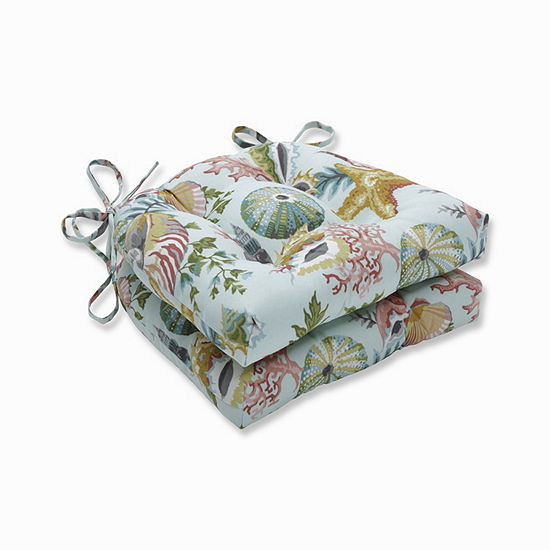Pillow Perfect Set of 2 Grantoli Seamist Reversible Patio Seat Cushions