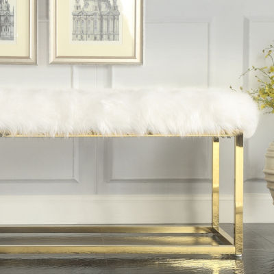 Inspired Home Verity Faux Fur Gold Metal Frame Ottoman Bench