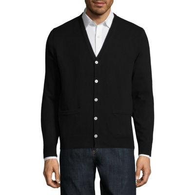 Claiborne Mens Y Neck Long Sleeve Cardigan