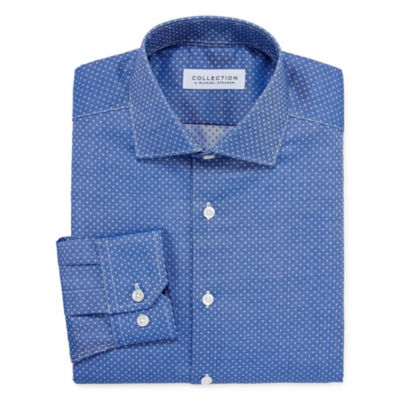 Collection by Michael Strahan  Wrinkle Free Cotton Stretch Long Sleeve Woven Squares Dress Shirt