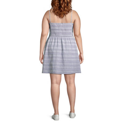 Arizona Sleeveless Striped A-Line Dress-Juniors Plus