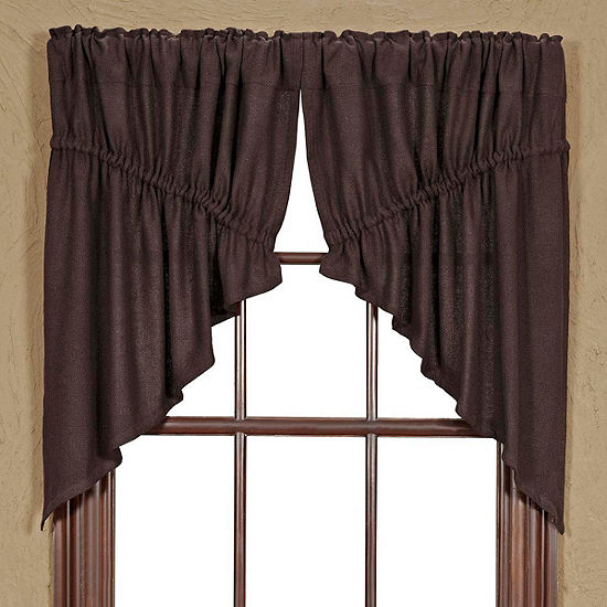 Rustic & Lodge Window Burlap Chocolate Prairie Swag Pair