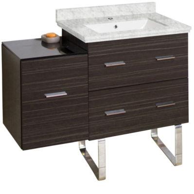 37.75-in. W Floor Mount Dawn Grey Vanity Set For 1Hole Drilling Bianca Carara Top White UM Sink