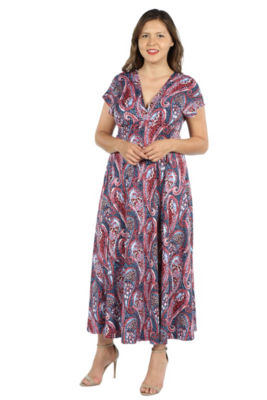 24Seven Comfort Apparel Constance Multicolor Paisley Empire Waist Maxi Dress - Plus