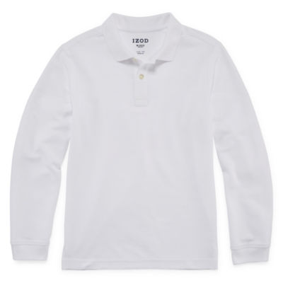 Izod Stretch Long Sleeve Pique Polo Boys 4-20- Reg & Husky