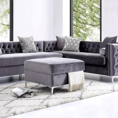 Inspired Home Olivia Velvet Modern Contemporary Square Storage Ottoman